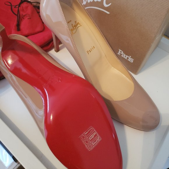Christian Louboutin simple pump 85mm patent nude